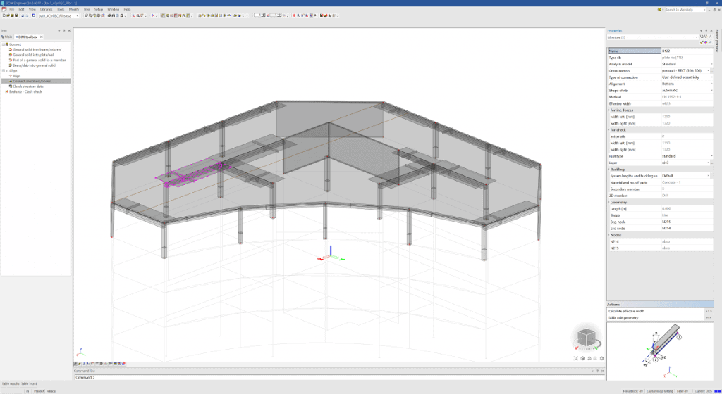 SCIA Engineer 20 - Calcul automat al lățimii efective pentru nervurile de beton