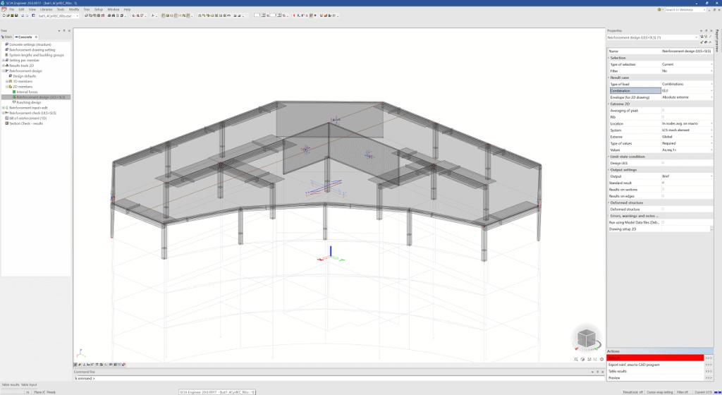 SCIA Engineer 20 - Afișarea direcțiilor de armare pentru planșee și pereți de beton