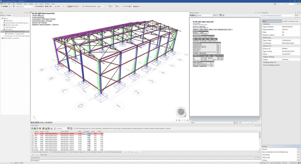 SCIA Engineer 20 - Raport A4 cu verificările după cod specifice oțelului 