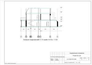 Secțiune longitudională 1-1. Sc.1:100