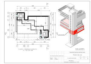 Plan Etaj -3, Dimensiuni constructive, Sc.1:100