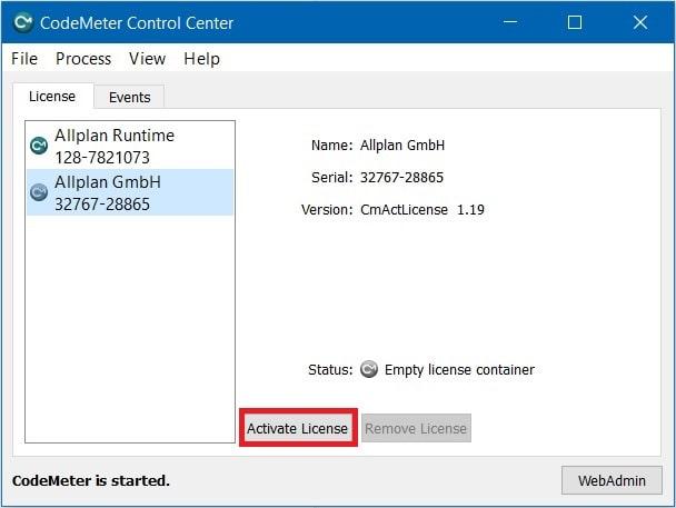 Codemeter control center activate license min
