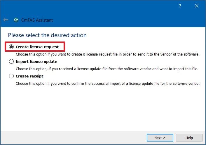 Codemeter control center create license request min