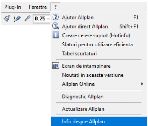 Info despre Allplan versiune curenta min
